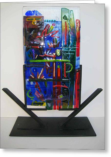 Graffiti Glass Art Greeting Cards - American Graffiti Greeting Card by Mark Lubich