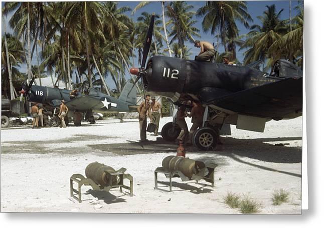 American Ground Crews Prepare Marine Greeting Card by W. Robert Moore