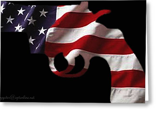 Flags Greeting Cards - American Gun Greeting Card by Gerard Yates