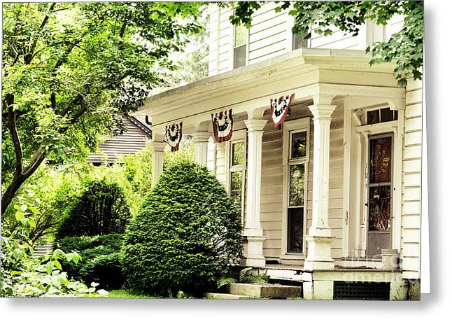 Deerfield Greeting Cards - American home Greeting Card by HD Connelly