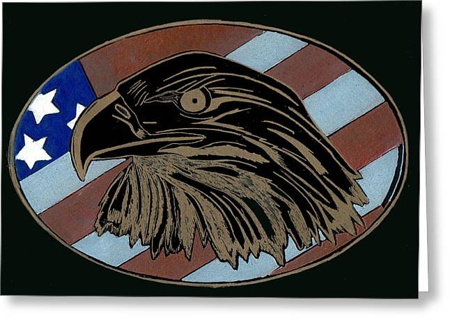 Recently Sold -  - Star Glass Art Greeting Cards - American Independence Day Greeting Card by Jim Ross