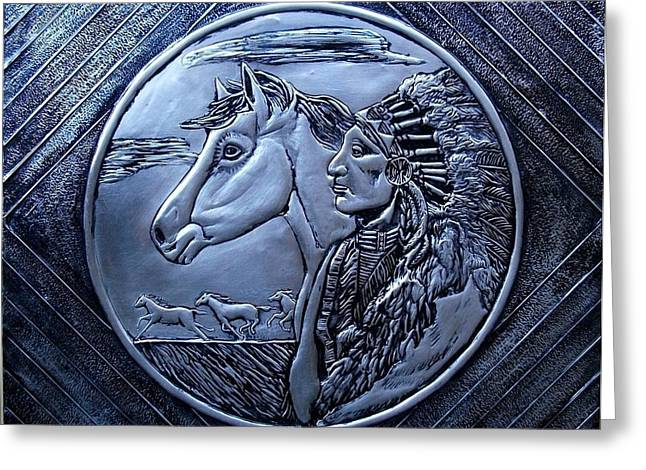 Coins Reliefs Greeting Cards - American Indian Greeting Card by Cacaio Tavares