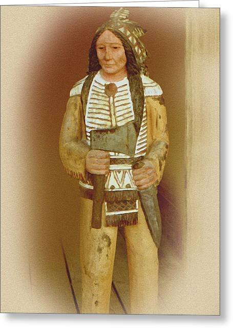 Wooden Sculpture Greeting Cards - American Indian Carving Greeting Card by Linda Phelps