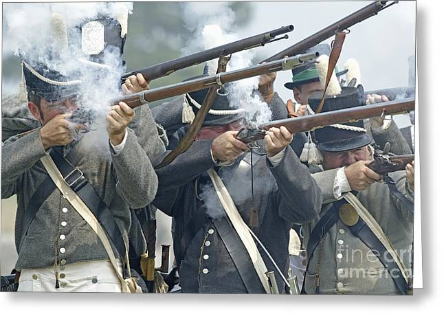 In 1812 Greeting Cards - American Infantry Firing Greeting Card by JT Lewis