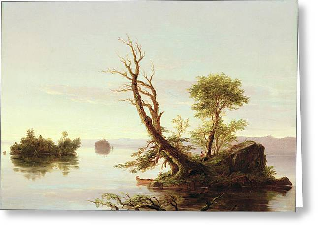 Cole Paintings Greeting Cards - American Lake Scene Greeting Card by Thomas Cole