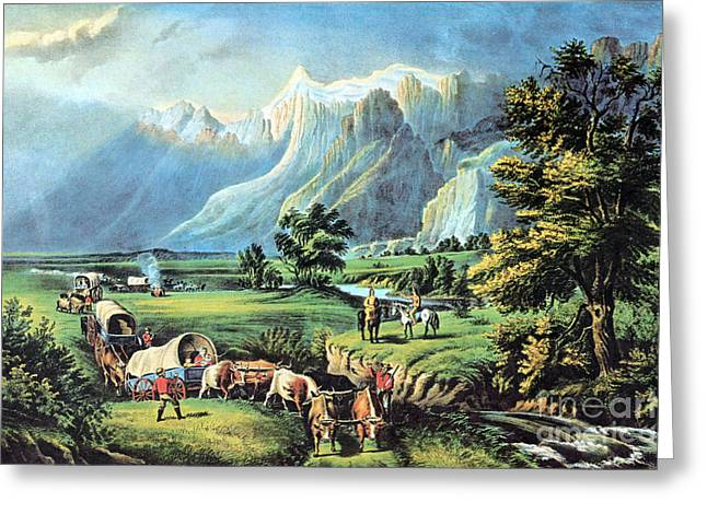 Pioneer Illustration Greeting Cards - American Manifest Destiny, 19th Century Greeting Card by Photo Researchers