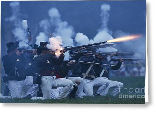 In 1812 Greeting Cards - American Night Battle Greeting Card by JT Lewis