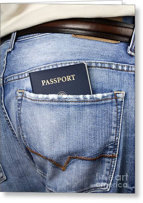 Citizens Photographs Greeting Cards - American passport in back pocket Greeting Card by Blink Images