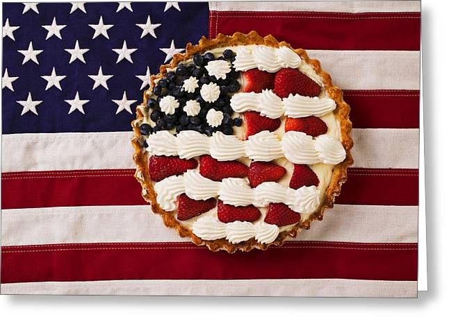 Concept Photographs Greeting Cards - American pie on American flagAmerican pie on American flagAmer Greeting Card by Garry Gay