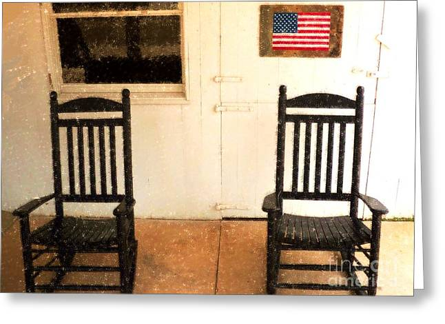 Rocking Chairs Mixed Media Greeting Cards - American Porch Greeting Card by Desiree Paquette