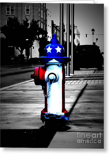 Flag Fire Hydrant Greeting Cards - American Pride Greeting Card by Lj Lambert