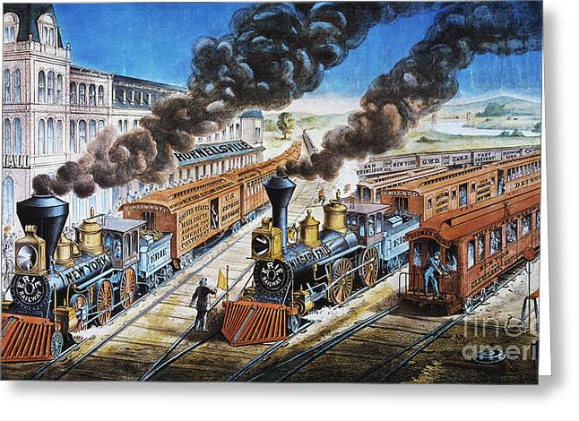 1876 Greeting Cards - American Railway, 1876 Greeting Card by Granger