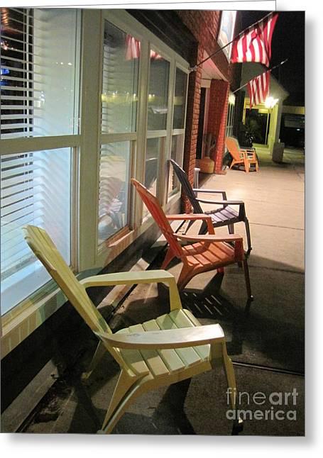 Adirondak Chair Greeting Cards - American Sidewalk Greeting Card by Jan Prewett
