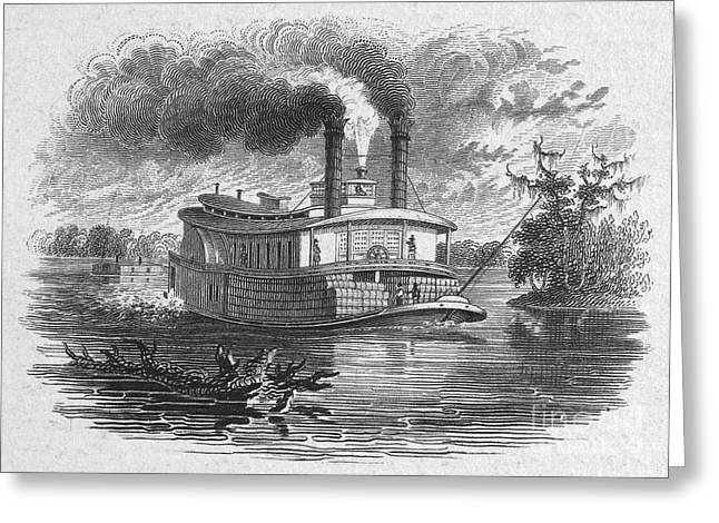 Steamboat Greeting Cards - American South: Steamboat Greeting Card by Granger