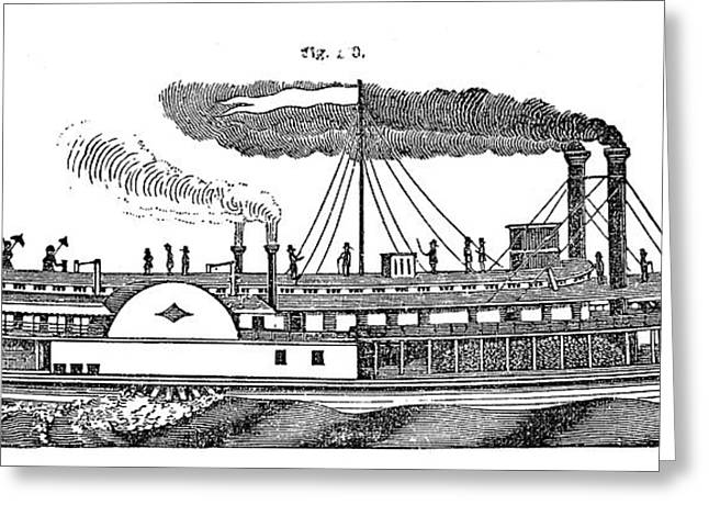 Steamboat Greeting Cards - AMERICAN STEAMBOAT, c1830 Greeting Card by Granger