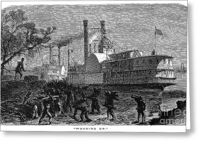 African-american Greeting Cards - AMERICAN STEAMBOAT, c1870 Greeting Card by Granger