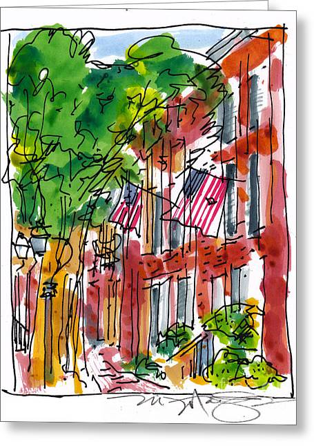 Philadelphia History Drawings Greeting Cards - American Street Philadelphia Greeting Card by Marilyn MacGregor