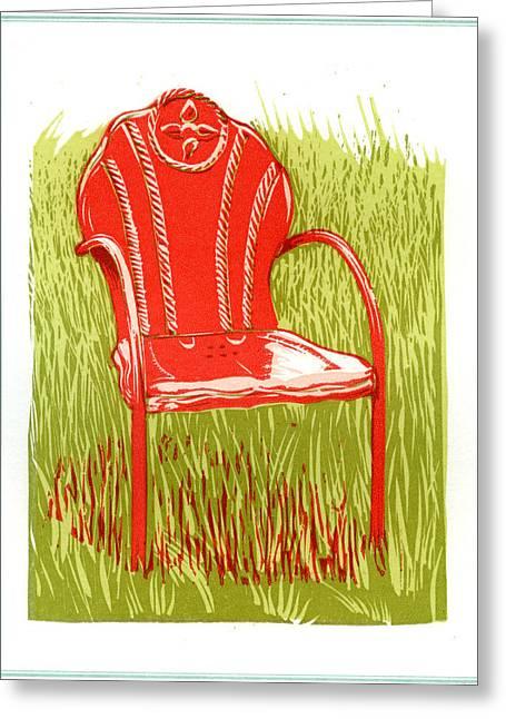 Linocut Greeting Cards - American vintage red metal lawn chair Greeting Card by David Esslemont