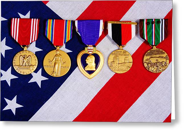 Fidelity Greeting Cards - American War Medals of a flag background Greeting Card by James BO  Insogna