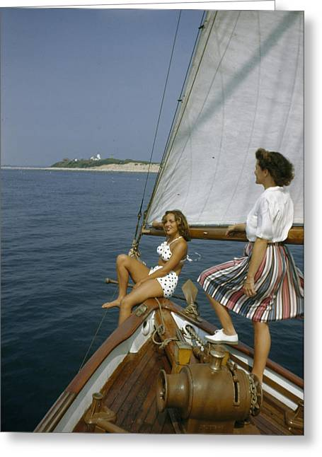 Gurnet Light Greeting Cards - American Women Sail Off Of The Coast Greeting Card by Robert Sisson