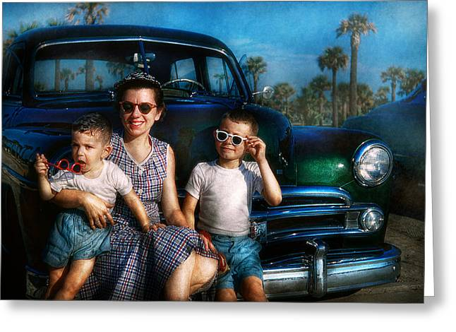 Mother Gift Greeting Cards - Americana - Car - The classic American vacation Greeting Card by Mike Savad