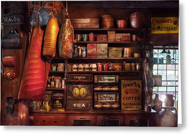 Grocery Store Photographs Greeting Cards - Americana - Store - The local grocers  Greeting Card by Mike Savad
