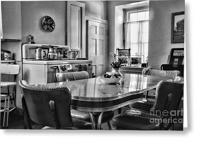 Americana - 1950 Kitchen - 1950s - retro kitchen Black and White Greeting Card by Paul Ward