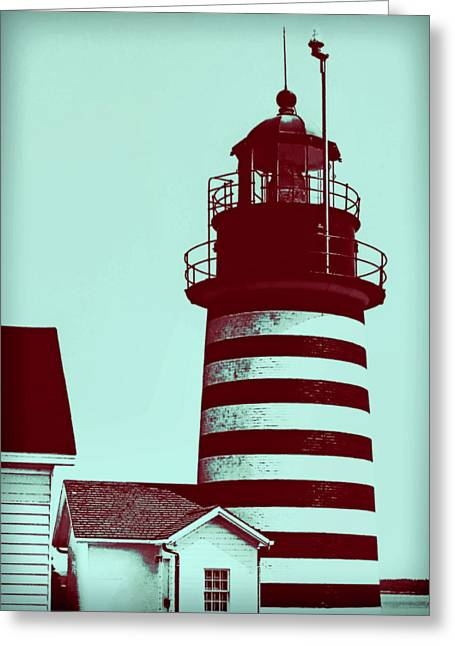 Turquoise And Rust Greeting Cards - Americana Lighthouse Greeting Card by Tony Grider