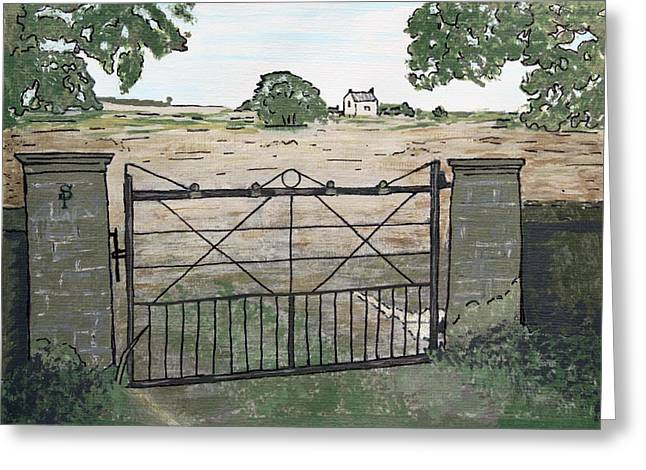 Over Hang Greeting Cards - Americana No.7 Gate No.8 Greeting Card by Sheri Parris