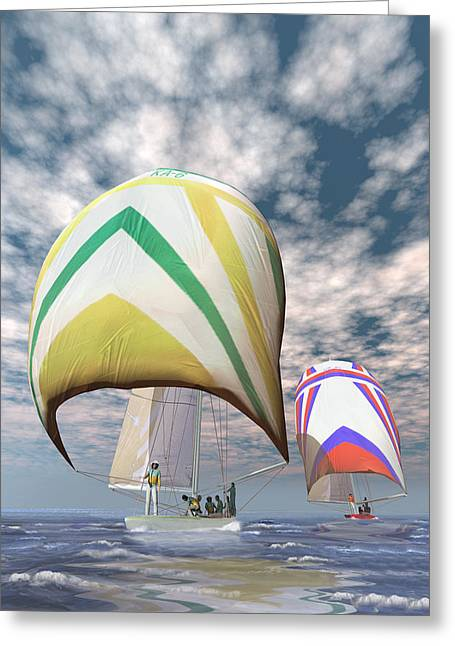 Win Greeting Cards - Americas cup . . . the upset.  Greeting Card by Carol and Mike Werner