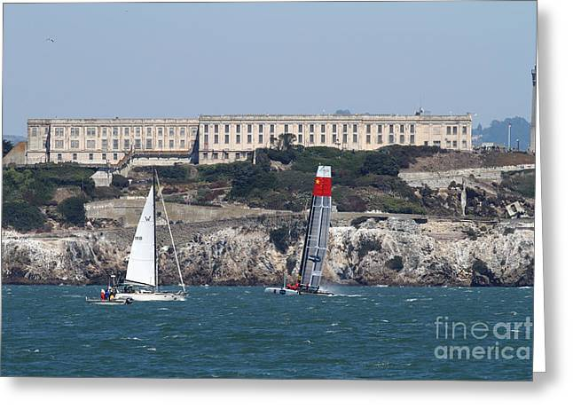 Alcatraz Greeting Cards - Americas Cup in San Francisco - China Firefall - 7D18334 Greeting Card by Wingsdomain Art and Photography