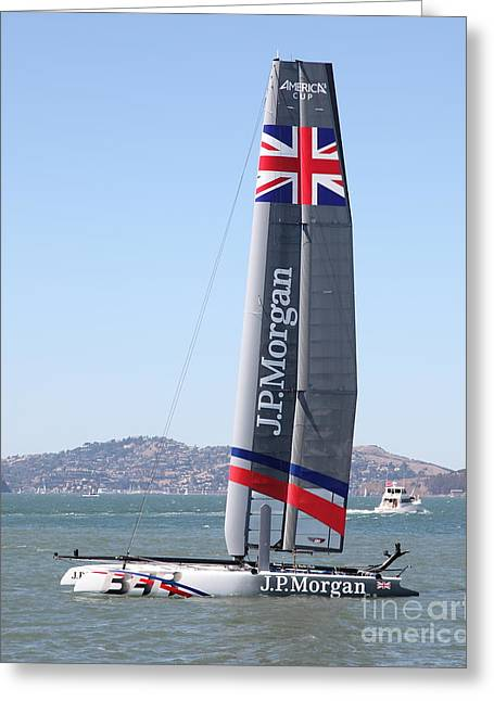 Americas Cup Greeting Cards - Americas Cup in San Francisco - Great Britain Ben Ainslie Racing Sailboat - 5D18248 Greeting Card by Wingsdomain Art and Photography