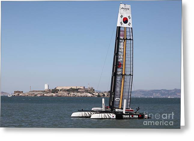 Alcatraz Greeting Cards - Americas Cup in San Francisco - Korea White Tiger Sailboat - 5D18212 Greeting Card by Wingsdomain Art and Photography
