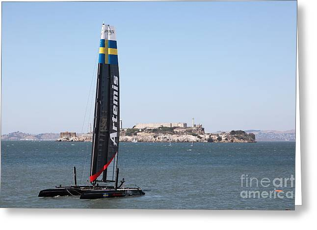 Americas Cup Greeting Cards - Americas Cup in San Francisco - Sweden Artemis Racing White Sailboat - 5D18256 Greeting Card by Wingsdomain Art and Photography