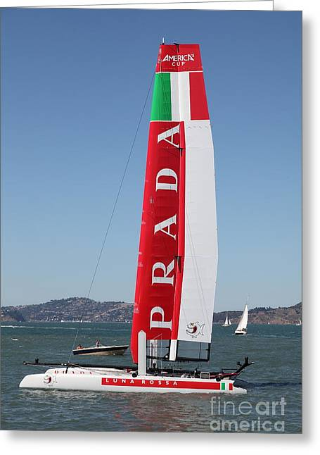 Americas Cup Greeting Cards - Americas Cup in San Francisco - Italy Luna Rossa Paranha Sailboat - 5D18216 Greeting Card by Wingsdomain Art and Photography