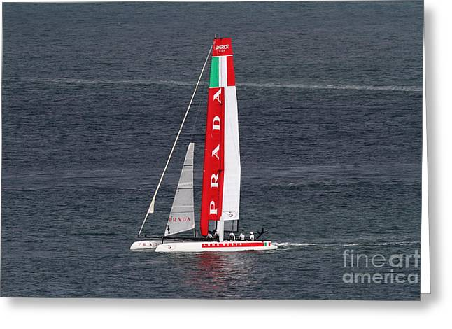 Americas Cup Greeting Cards - Americas Cup in San Francisco - Italy Luna Rossa Paranha Sailboat - 7D19041 Greeting Card by Wingsdomain Art and Photography