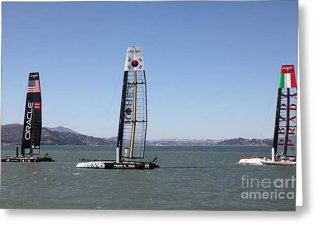 Swordfish Greeting Cards - Americas Cup Racing Sailboats in The San Francisco Bay - 5D18237 Greeting Card by Wingsdomain Art and Photography