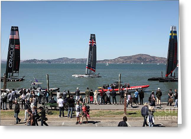 Americas Cup Greeting Cards - Americas Cup Racing Sailboats in The San Francisco Bay - 5D18257 Greeting Card by Wingsdomain Art and Photography