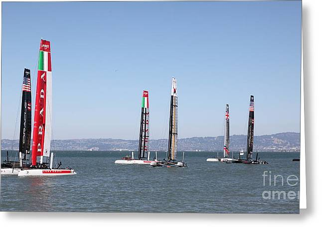 Luna Greeting Cards - Americas Cup Sailboats in San Francisco - 5D18205 Greeting Card by Wingsdomain Art and Photography