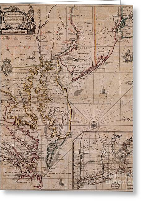 New Jersey History Greeting Cards - Americas East Coast, 1679 Greeting Card by Photo Researchers