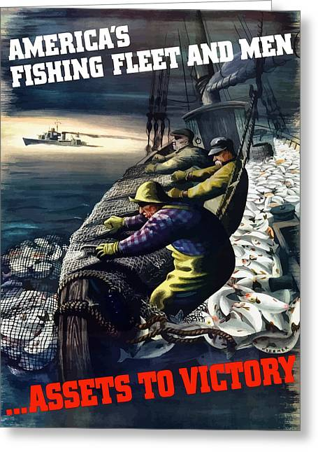 Fishing Greeting Cards - Americas Fishing Fleet And Men  Greeting Card by War Is Hell Store