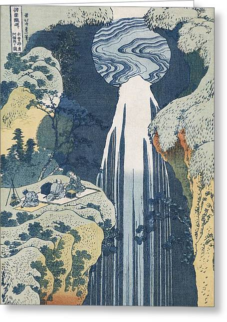 Ravine Greeting Cards - Amida Waterfall Greeting Card by Hokusai