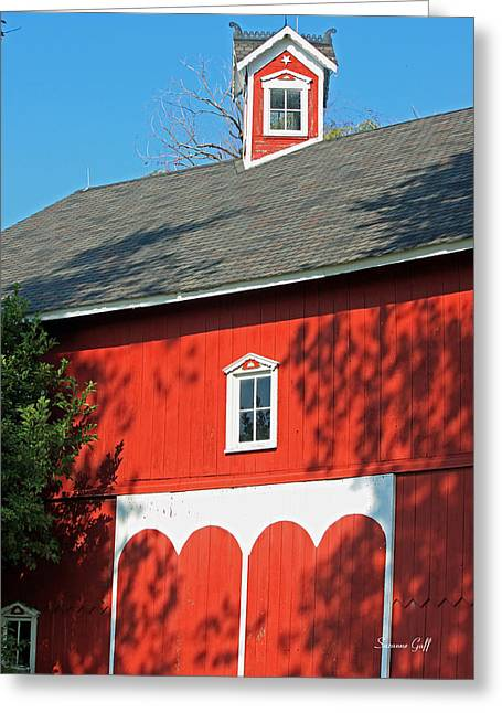 Red Roofed Barn Greeting Cards - Amish Barn in Shadows Greeting Card by Suzanne Gaff