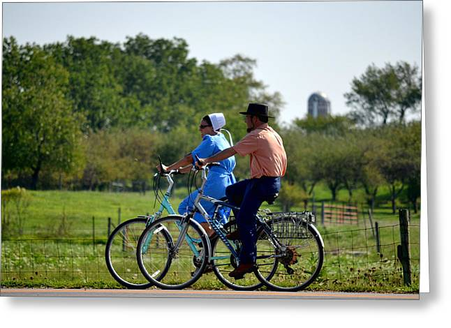 Amish Family Greeting Cards - Amish Bike Ride Greeting Card by Jeffrey Platt