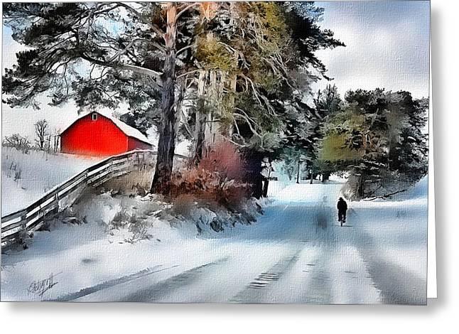 Amish Boy On Bike Greeting Card by Tom Schmidt