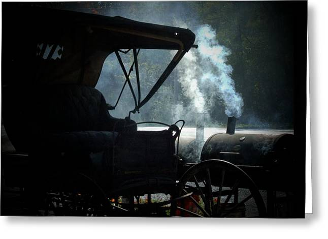 Amish Greeting Cards - Amish Buggy Cookout Greeting Card by Michael L Kimble