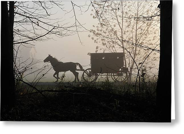 Amish Photographs Greeting Cards - Amish Buggy Foggy Sunday Greeting Card by David Arment