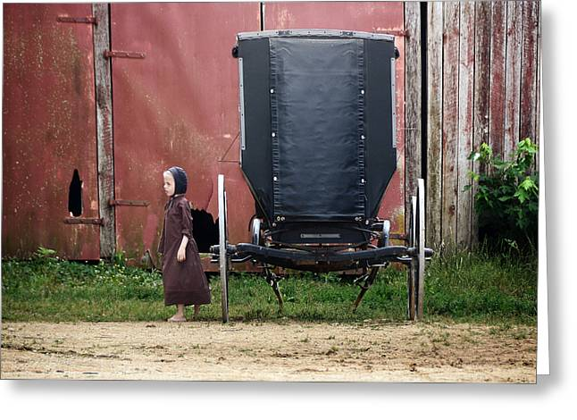Amish Girl Greeting Cards - Amish Child Greeting Card by Steven  Michael