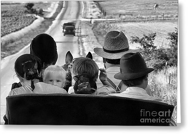 Recently Sold -  - Julie Dant Photographs Greeting Cards - Amish Family Outing II Greeting Card by Julie Dant