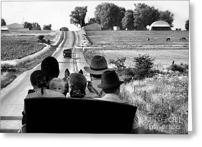 Recently Sold -  - Julie Dant Photographs Greeting Cards - Amish Family Outing Greeting Card by Julie Dant
